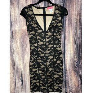 Deep V-Neck Black Lace Dress